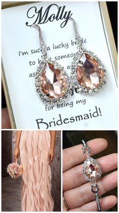 Pink Blush rhinestone drop earrings bridesmaids gifts,bridal jewelry,Pale pink ,Blush Bridesmaid Jewelry  ,Peach pink  personalized necklace