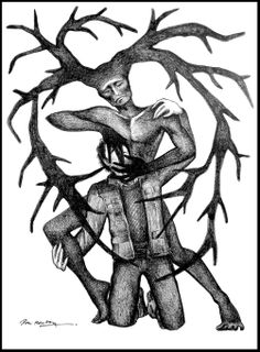 """Persuasion"" by Dori Hartley, Hannibal Art. #hannibal #fannibalart #hannibalfanart #wendigo #antlers #bloodpump #heart #ventricles"