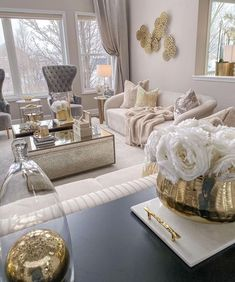 Fancy Living Rooms, Decor Home Living Room, Glam Living Room, Elegant Living Room, New Living Room, Living Room Designs, Decor Interior Design, Interior Decorating, House Design