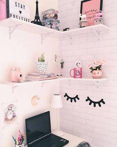 64 Ideas Home Office Pequeno Quartos Diy Cute Bedroom Ideas, Cute Room Decor, Girl Bedroom Designs, Easy Home Decor, Home Office Decor, Teen Bedroom, Bedroom Decor, Study Room Decor, Tumblr Rooms