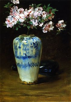 """Pink Azalea—Chinese Vase"": William Merritt Chase (American, 1849–1916) Oil on wood."