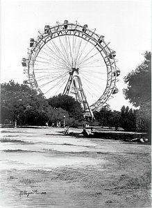 Viennese Giant Wheel by Johannes Margreiter Framed Prints, Canvas Prints, Vienna, Tapestry, Black And White, Artwork, Artist, Shop, Poster