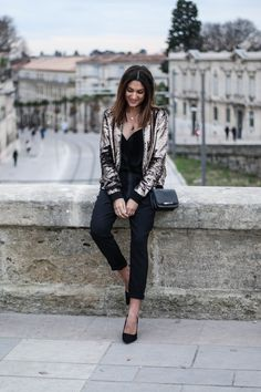 Sequin bomber jacket outfit