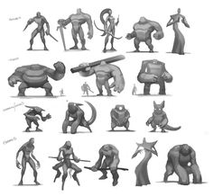 Stylised Body types , Tom Stockwell on ArtStation at https://www.artstation.com/artwork/stylised-body-types