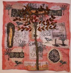 Bay Tree and Shoes' cloth collage by contemporary textile artist Anne Kelly