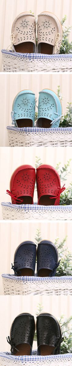 US$ 20.06  Big Size Leather Hollow Out Floral Breathable Soft Comfy Lace Up Flat Shoes