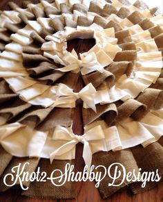 50 inch Ivory and Burlap Tree Skirt by Knot2ShabbyDesigns on Etsy, $95.00