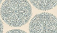 Paisley Circles (DCAVPC103) - Sanderson Wallpapers - A beautiful design featuring large circular medallions of delicate filigree patterns of Indian paisley in an elegant blue with green and silver on cream. Paste-the-wall. Additional colourway also available. Please order sample for true colour match.