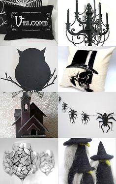 Check out this classic black and white Halloween decor on Etsy.