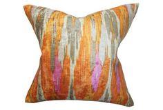 Ikat 18x18 Cotton Pillow, Multi