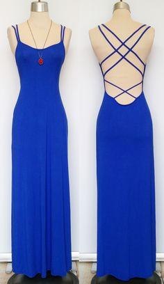 Royal blue strappy back dress. http://www.shopmudra.com/
