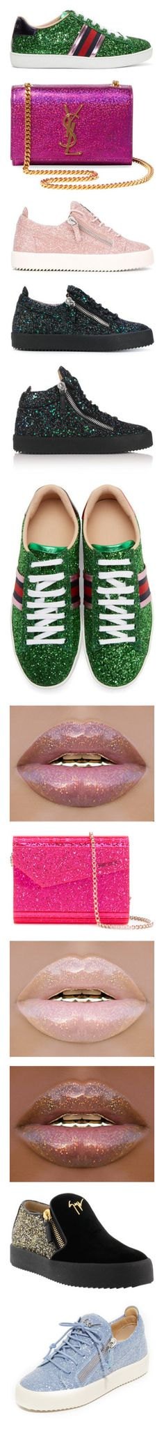 """✨G L I T T R✨"" by mykailll ❤ liked on Polyvore featuring shoes, sneakers, green, metallic sneakers, lacing sneakers, lace up shoes, glitter sneakers, round cap, bags and handbags"