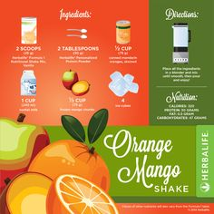 The recipe for a Herbalife Orange shake. To get Herbalife ingredients, visit goalsforlife.goherbalife.com.