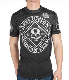 cf59d80e Affliction American Customs Feelin Lucky T-Shirt - Men's T-Shirts in  Charcoal Black Dip Dye