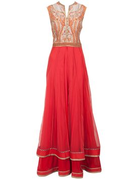 Red layered anarkali set available only at Pernia's Pop-Up Shop. This is great
