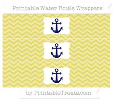 Straw Yellow Chevron  Nautical Water Bottle Wrappers