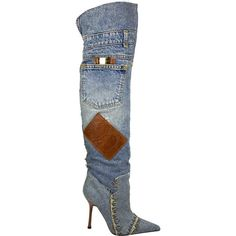 Buy your cloth heels Dolce & Gabbana on Vestiaire Collective, the luxury consignment store online. Second-hand Cloth heels Dolce & Gabbana Blue in Cloth available. Dolce And Gabbana Blue, Denim Boots, Denim Patchwork, Metal Trim, Yoko, Luxury Consignment, Knee High Boots, Leather Heels, Shoes Heels