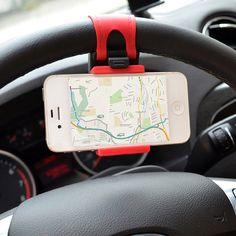 자동차 전화 홀더 장착 스티어링 휠 크래들 스마트 휴대 전화 클립 마운트 홀더 고무 밴드 samsung iphone 5 s 6 6 초