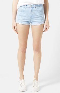 $29, Topshop Moto Rosa Cuffed Denim Shorts. Sold by Nordstrom. Click for more info: https://lookastic.com/women/shop_items/172255/redirect