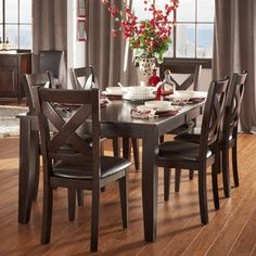 Shop for TRIBECCA HOME Acton Warm Merlot X-back Casual 7-piece Extending Dining Set. Get free delivery at Overstock.com - Your Online…