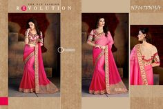 #Pink #Bemberg #Chiffon #Saree With #Silk #Beige #Silk $79.18 www.fashionumang.com