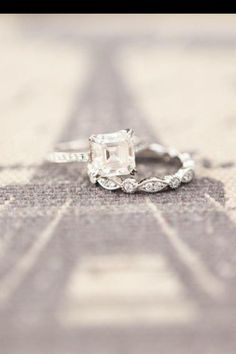 Asher cut vintage engagement ring. Conflict free diamond wedding band. Gorgeous!