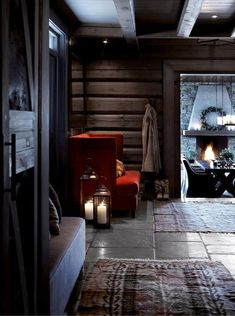 Norwegian wooden house in the mountains and cozy evenings by the fireplace on Christmas Eve. Cozy Cabin, Cozy House, Cabin Homes, Log Homes, Chalet Design, House Design, Mountain Cottage, Cabins And Cottages, Cabins In The Woods