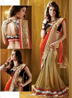 Awesome Combination of Orange & Gold Beige Georgette #Sarees With Banarsi  Borders