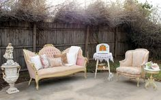 Rent My Dust Vintage Lounge Area's for Your Wedding! - Blog - RENT MY DUST Vintage Rentals.  This is for the pink bride or Shabby Chic Bride featuring our pink Priscilla Sofa & Marie Antoinette Chair.