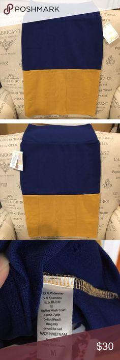 ✨Lularoe Cassie Skirt -color Block Brand New‼️ super soft & comfortable 😍 Navy Blue & Gold color block style LuLaRoe Skirts Midi