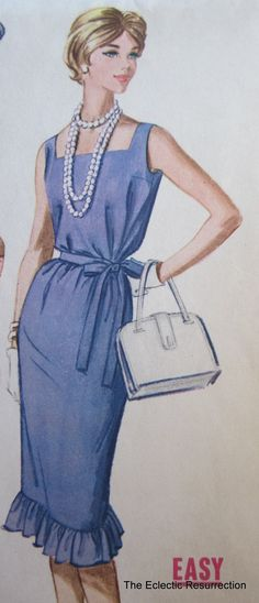 """Vintage 1960s Wiggle Dress Pattern McCall's 5814-Belted Wiggle Dress or Beach Cover-Up-36"""" Bust"""