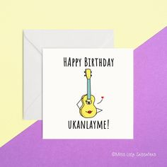 A fun quirky card, perfect for ukulele lovers. Blank inside for your own message 135 x card Designed and printed by MissLeelaSassafras Made in Ireland