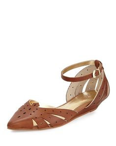 Siren Call Perforated Leather Flat, Whiskey by Seychelles at Neiman Marcus Last Call.