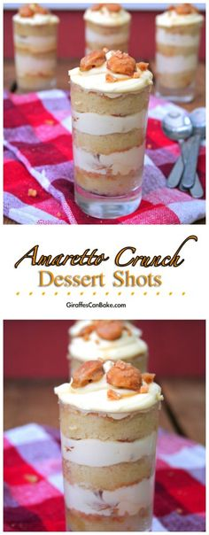 Amaretto Crunch Dessert Shots Giraffes Can Bake Mini Desserts, Shot Glass Desserts, Single Serve Desserts, Individual Desserts, Trifle Desserts, Christmas Desserts, Easy Desserts, Delicious Desserts, Dessert Recipes