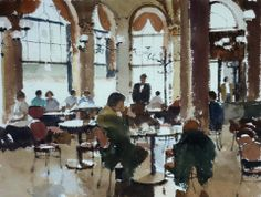 Yardley John (b. 1933, UK)  The Cafe. watercolour. 40 x 50 cm.