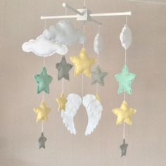 Baby mobile  Baby girl mobile  Cot mobile  Angel wings
