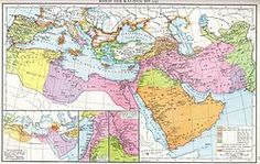 Map of the Muslim expansion and the Muslim world under the Umayyad and early Abbasid caliphates
