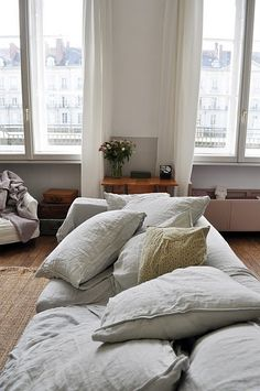 linen couch- messy and dreamy