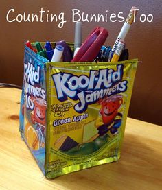 Juice pouch pencil holders