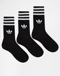 ASOS adidas Originals Solid Crew Socks Found on my new favorite app Dote Shopping Adidas Originals, The Originals, Adidas Superstar, Black And White Socks, Solid Black, Black White Stripes, Fishnet Ankle Socks, Adidas Tumblr Wallpaper, New Fashion