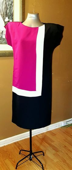 Vintage Tapestry Inc Color Block Dress Sz 11 - 12 Padded Shoulders #tapestryinc #Business