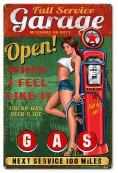 Retro heavy gauge steel sign,Full service Garage, pin up girl, vintage metal sign Pin Up Vintage, Pub Vintage, Vintage Metal Signs, Pin Up Girls, Up Auto, Pompe A Essence, Etiquette Vintage, Pin Up Posters, Garage Art