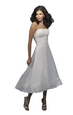 Sexy A-Line/Princess Strapless Tea-Length Wedding Dress With Ruched/Lace Chiffon/ Spandex