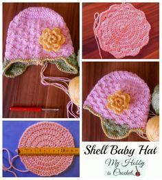 Shell Baby Hat with Ear Flaps  Free Pattern #freecrochetpattern #myhobbyiscrochet