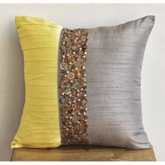 Decorative Throw Pillow Covers Accent Pillow Couch Pillow 18x18 Inches Silk Pillow Cover Metal Embroidery Yellow Treasures Pleated on Etsy, $27.00