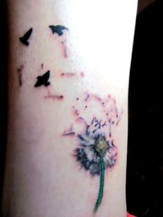 See more Dandelion and flying birds tattoos on leg