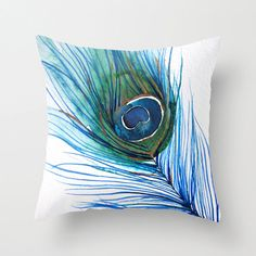 Peacock Feather Throw Pillow - Currently 30% off for a limited time! From Mai Autumn