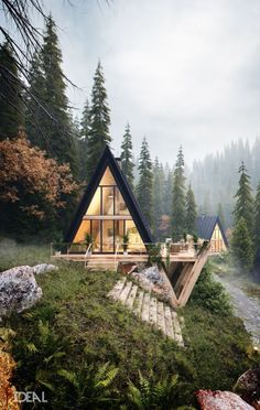 Stunning A-frame cabin with a sleek style. This ties together the best of modern architecture and cabin life against the most enchanting forest landscape. A Frame Cabin, A Frame House, Beautiful Homes, Beautiful Places, House Beautiful, Beautiful Interiors, Beautiful Beautiful, 3d Architectural Visualization, Architecture Visualization