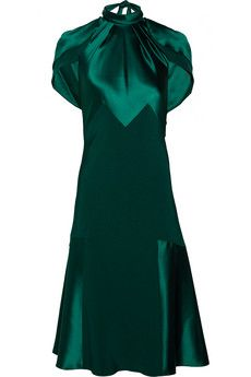 Prabal Gurung- Paneled silk-satin and silk-crepe dress