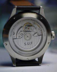 S.U.F (Sarpaneva Uhren Fabrik)  Paroni Flying Finn and Limited Edition, Caseback - A sapphire exhibition caseback reveals a Soprod A10 automatic self winding movement, Sarpaneva's 'weapon of choice' since abandoning an ETA alternative some years before, in an astute decision which would ensure long term access to the parts he will need for servicing and repairs in the years to come. A 42 hour power reserve and the versatility it offers. Click on the image for more details...